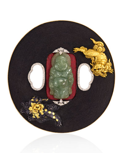 Estate Art Deco Japanese Shakudo Brooch with Carved Jade & Diamonds