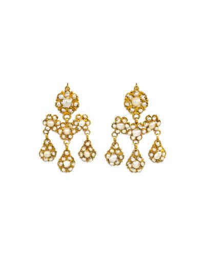 Estate Antique Natural Pearl Girandole Earrings