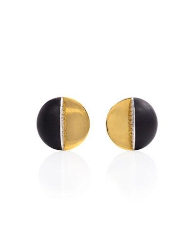 Estate 18K Ebony & Diamond Dome Earrings