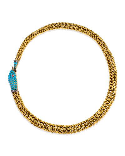 Estate Antique Ouroboros Snake Necklace with Turquoise, Diamonds, & Rubies