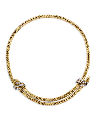 Estate 18K Gold & Platinum Foxtail Link Necklace with Diamonds