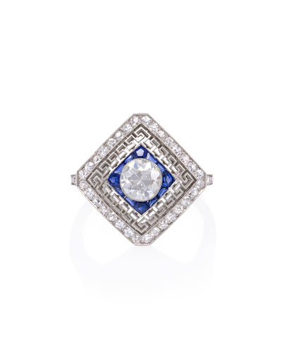 Estate Edwardian Diamond & Sapphire Ring