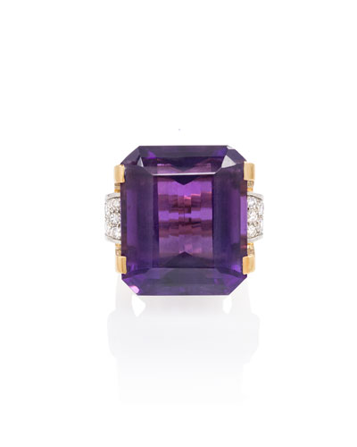 Estate Retro Emerald-Cut Amethyst Cocktail Ring with Diamonds