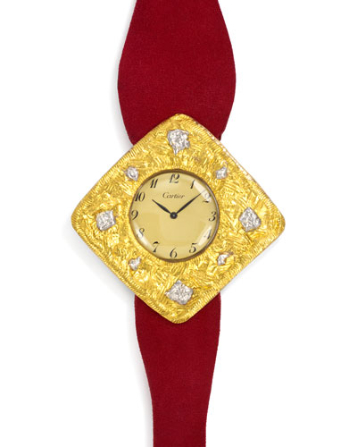 Estate Cartier Two-Tone Gold Watch with Red Suede Strap