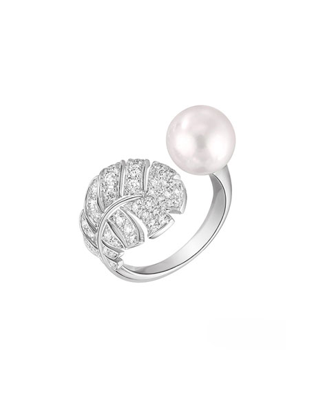 PERLE Plume Ring in 18K White Gold, Cultured Pearl and Diamonds