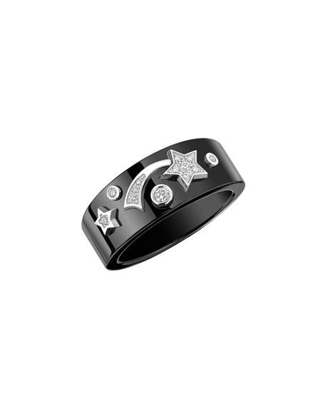 COSMIQUE Ring in 18K White Gold, Black Ceramic & Diamonds