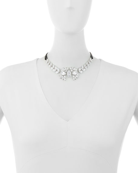 Monarch Leather & Crystal Choker Necklace