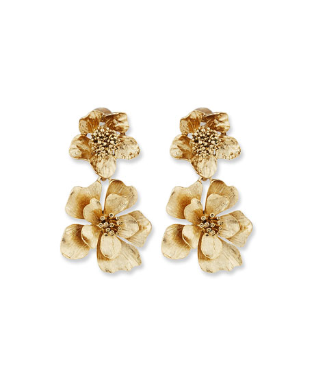 Oscar de la Renta Bold Flower Drop Earrings