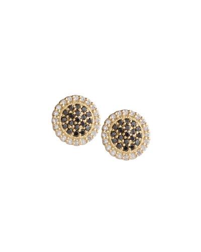Scalloped Black & White Diamond Stud Earrings