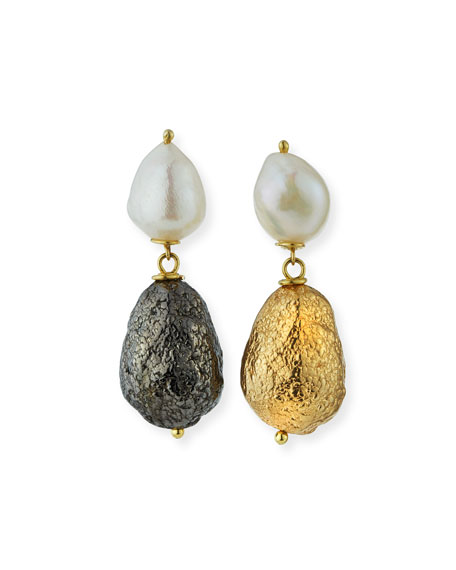 Black Silver & Yellow Golden Nugget with Pearl Earrings