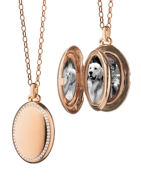 18K Rose Gold Four-Picture Locket Necklace with Diamond Border