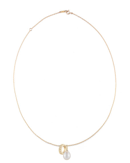 14K Gold Chain Necklace with Pearl & Diamond Sliders