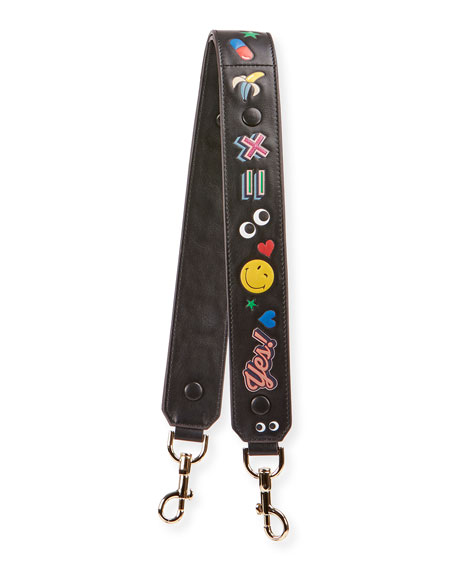 Allover Wink Shoulder Strap for Handbag, Black/Multi