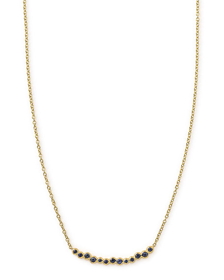 18k Glamazon Stardust Smile Bar Necklace with Blue Sapphires