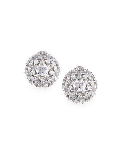 Monarch Florette Crystal Button Earrings