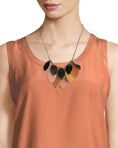 Multi-Leaf Long Statement Necklace