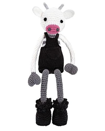Mr. Bell Crocheted Cow Stuffed Animal  Black