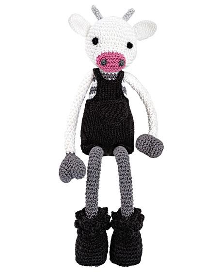 Mr. Bell Crocheted Cow Stuffed Animal, Black