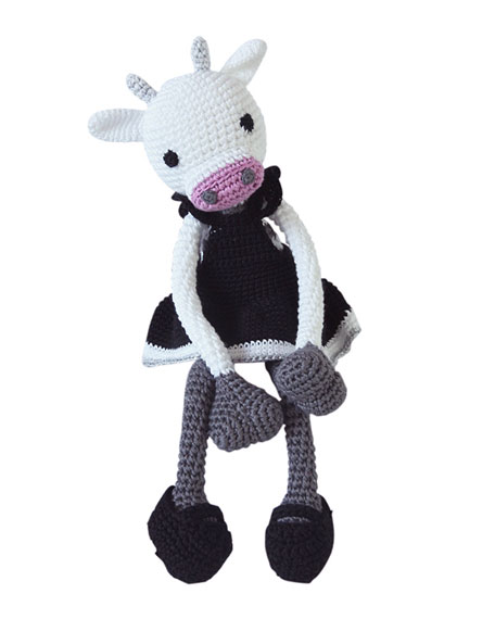 Fiona Bella Crocheted Cow Stuffed Animal, Black