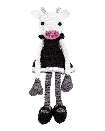 Fiona Bella Crocheted Cow Stuffed Animal  Black