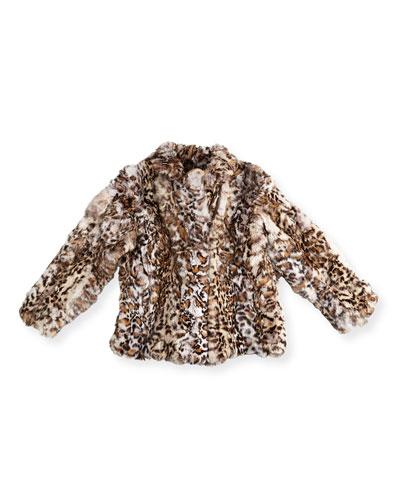 Leopard-Print Fur Biker Jacket  Size 2-14