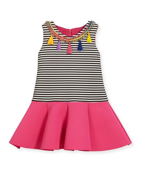 Zoe Sleeveless Striped Ponte Flounce Dress, Multicolor, Size
