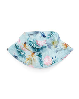 Nadia Fishpond Sun Hat, Blue Pattern, Size 1-8