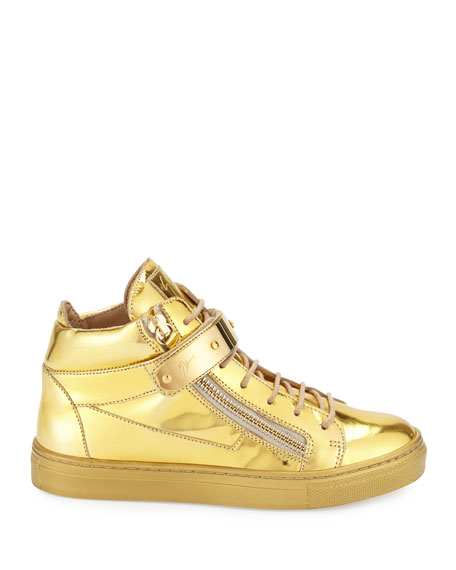 Kids' Unisex Metallic Leather High-Top Sneaker, Gold, Toddler/Youth
