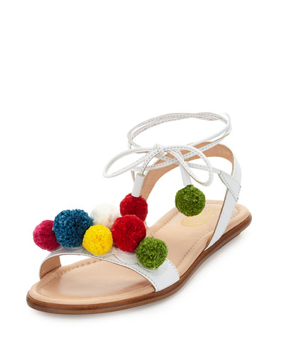 Pompom Ankle-Wrap Sandal, White, Youth