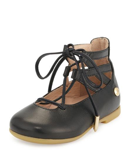Aquazzura Belgravia Baby Leather Ballerina Flat, Black,