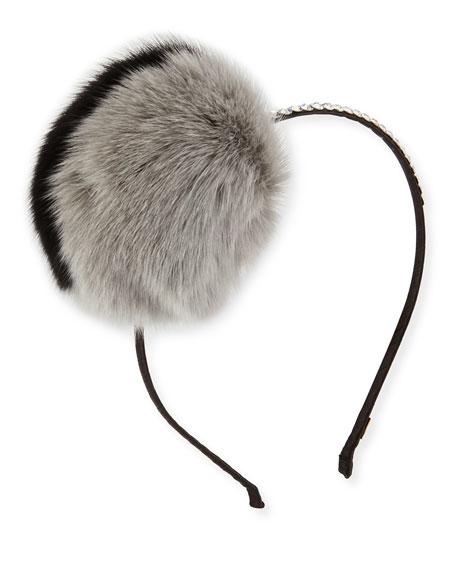Crystal Headband w/Fox Fur Pompom