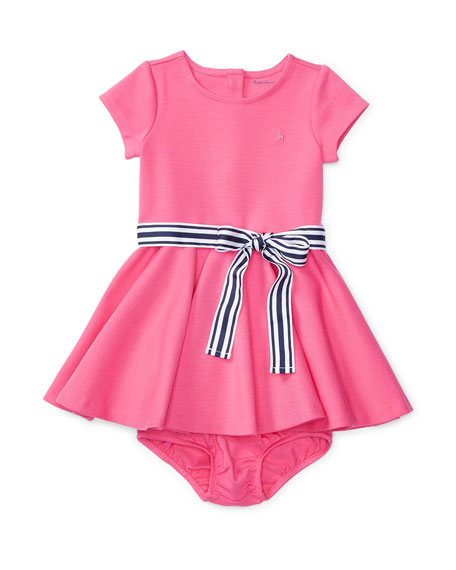 Cap-Sleeve Ponte Circle Dress w/ Bloomers, Pink, Size
