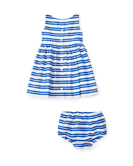 Sleeveless Smocked Striped Poplin Dress w/ Bloomers, Blue, Size 6-24 Months