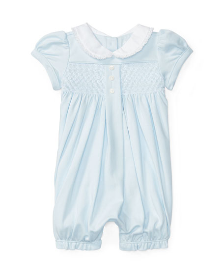 Embroidered Pima Shortall, Blue, Size 3-18 Months