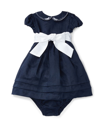 Cap-Sleeve Fit-and-Flare Ramie Dress w/ Bloomers, Blue, Size 9-24 Months