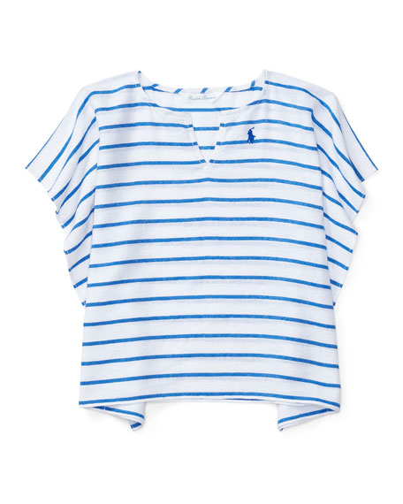 Ralph Lauren Childrenswear Striped Cotton Swim Coverup, Blue,