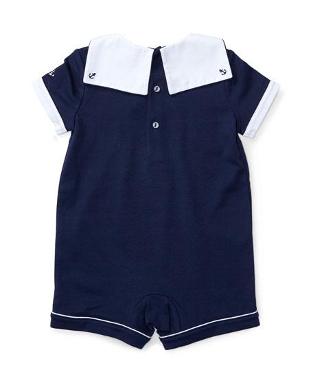 2f666bc6b9 Pintucked Jersey Sailor Shortall Blue Size 3-18 Months