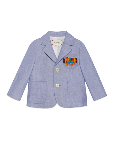 Cotton Oxford Suit Jacket, Light Blue, Size 12-36 Months