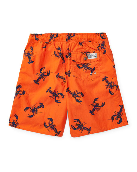 Lobster-Print Board Shorts, Red/Blue, Sizes 2-4