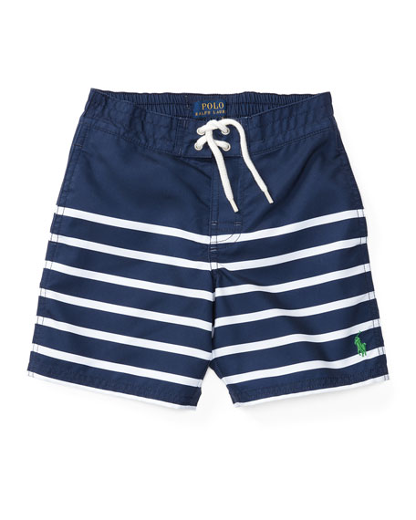 Striped Board Shorts, Blue/White, Sizes 2-4