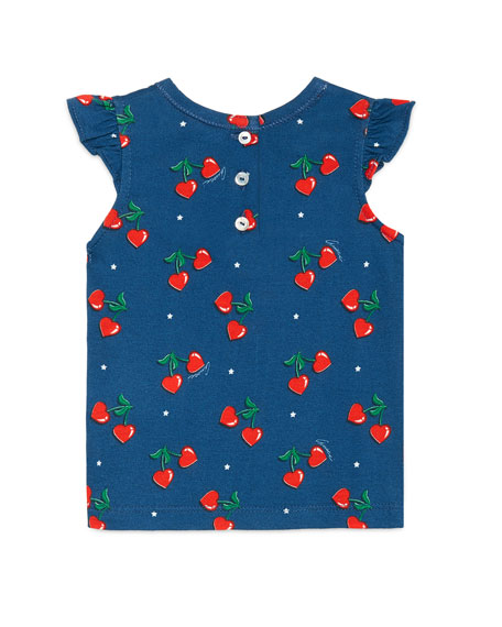 Heart Cherries Jersey Tee, Navy, Size 3-36 Months