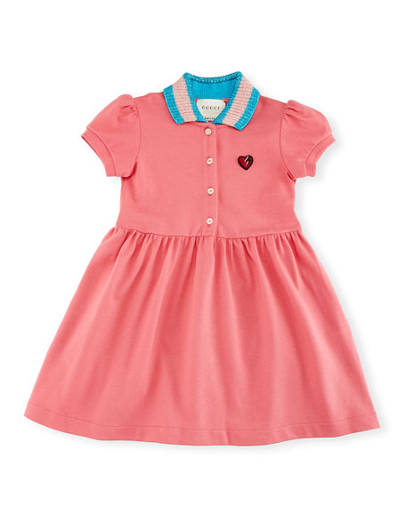 Gucci Short-Sleeve Smocked Stretch Pique Dress, Size 9-36