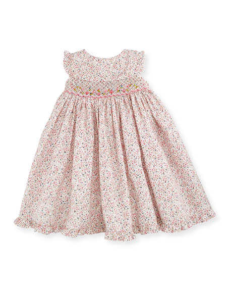 Sleeveless Floral Smocked Bishop Dress, Pink, Size 3-24 Months