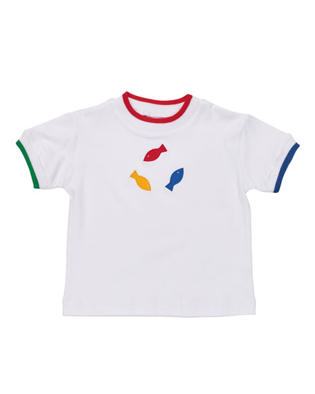 Short-Sleeve Cotton Jersey Fish Tee, White, Size 6-24 Months