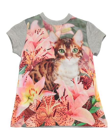 Corina Short-Sleeve Cat T-Shirt Dress, Size 3-24 Months