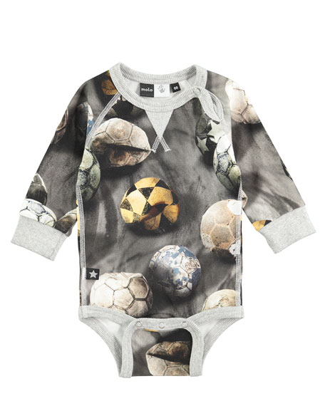 Molo Frank Long-Sleeve Soccer Ball Playsuit, Gray, Size