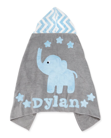 """Personalized """"Big Foot"""" Elephant Hooded Towel, Blue `"""