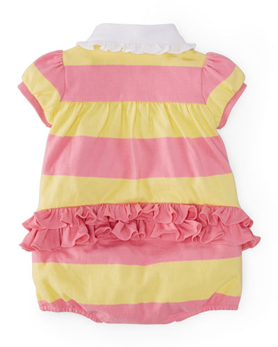 Striped Ruffle-Trim Bubble Playsuit, Size 3-18 Months