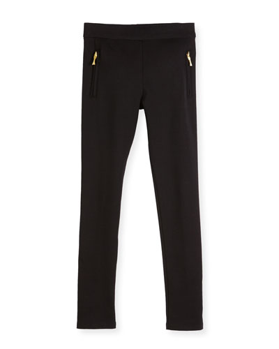 zip-trim ponte leggings, black, size 2-6