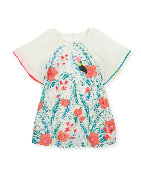 Billieblush Cape-Sleeve Cotton Leaf-Print Dress, Multicolor, Size